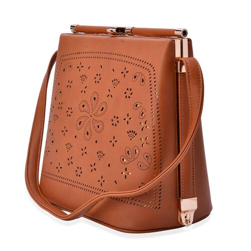Laser Cut Floral Pattern Tan Colour Clutch Bag With Unique Adjustable Strap (Size 20x20x15 Cm)(Size 20x20x15 Cm)