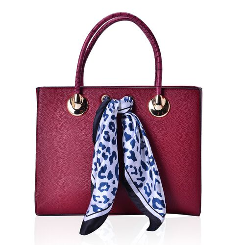 True Red Colour Large Tote Bag with External Zipper Pocket, Small Clutch and Blue Colour Leopard Pattern White Colour Scarf (Size 35x28x12 Cm, 27x13.5 Cm and 51x47 Cm)