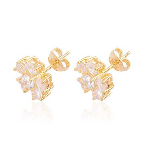 ELANZA AAA Simulated White Diamond Floral Stud Earrings (with Push Back) in Yellow Gold Overlay Sterling Silver