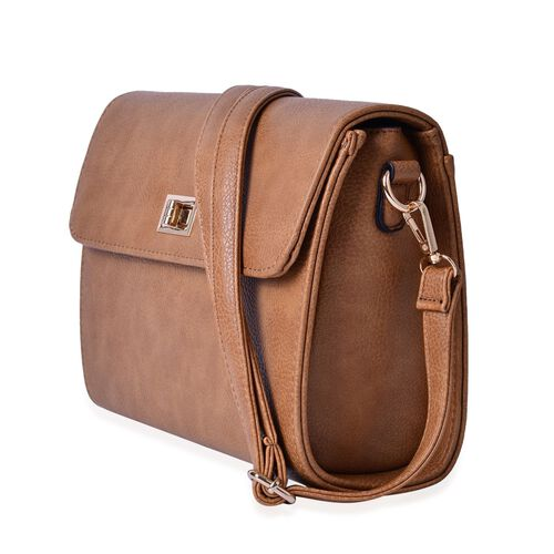 Marylebone Classic Deep Tan Colour Crossbody Bag with Adjustable and Removable Strap (Size 27x20x9 Cm)