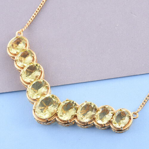 Natural Green Gold Quartz (Ovl) Necklace (Size 18) in 14K Gold Overlay Sterling Silver 20.750 Ct. Silver wt 13.00 Gms.