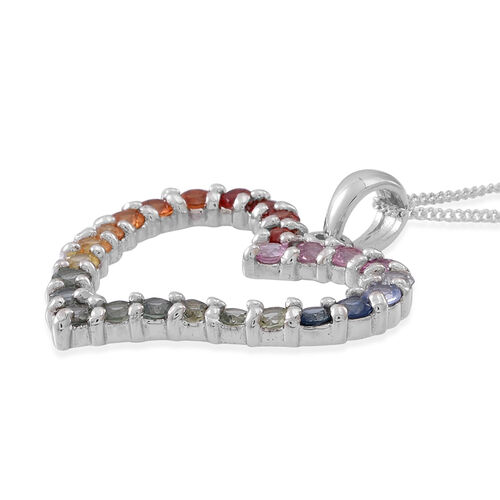 Rainbow Sapphire (Rnd) Heart Pendant With Chain in Rhodium Plated Sterling Silver 2.250 Ct.