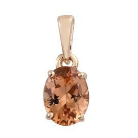 9K Yellow Gold AAA Imperial Topaz (Ovl) Solitaire Pendant 1.500 Ct.