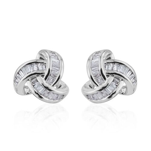 9K W Gold Diamond (Bgt) (I2-I3/G-H) Triple Knot Stud Earrings (with Push Back) 0.250 Ct.