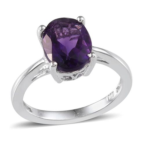 Lusaka Amethyst (Ovl) Solitaire Ring in Platinum Overlay Sterling Silver 2.250 Ct.