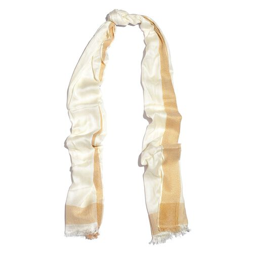 100% Modal Off White and Golden Colour Scarf with Fringes (Size 180X70 Cm)