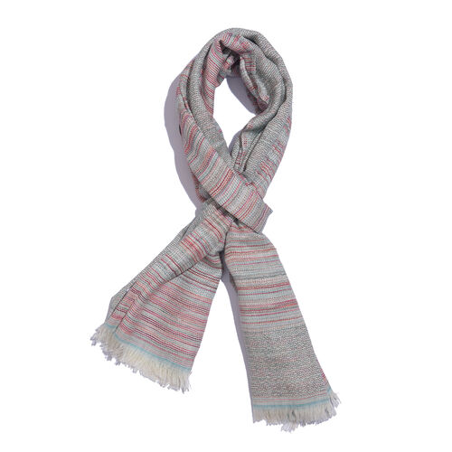 50% Cotton Red, Blue and Multi Colour Textured Stripe Scarf (Size 180x70 Cm)