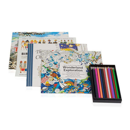Set of 5 - Crayons Box (24 Colour Pencils) with Colouring Books (Wonderland Exploration, The time Chamber, Birth of  fashion and Travel to Mind)