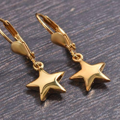 14K Gold Overlay Sterling Silver Star Lever Back Earrings, Silver wt 2.65 gms