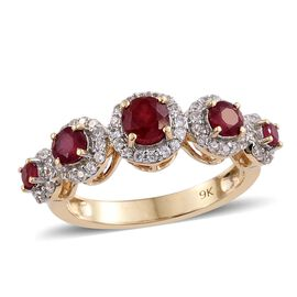 9K Yellow Gold 1.65 Ct AA African Ruby Ring with Natural Cambodian Zircon