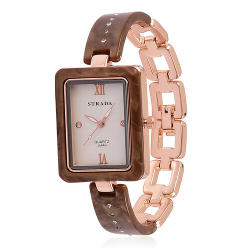 STRADA Japanese Movement White Austrian Crystal Studded Rose Dial Watch in Rose Gold Tone with Stainless Steel Back and Chocolate Colour Strap