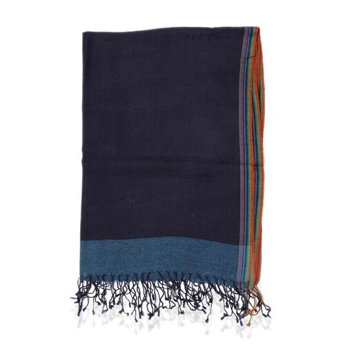 100% Wool Navy Border Scarf (Size 70x180)