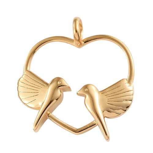 14K Gold Overlay Sterling Silver Love Birds in Heart Pendant, Silver wt 4.62 Gms.