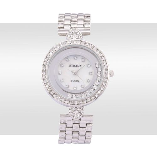 STRADA Austrian Crystal Studded Silver Tone Watch with Floating Crystals