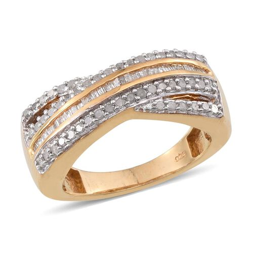 Diamond (Bgt) Ring in 14K Gold Overlay Sterling Silver 0.500 Ct.