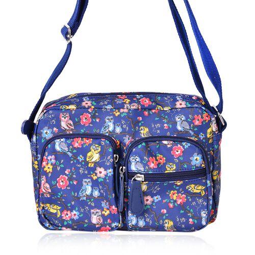 Designer Inspired - Blue, Pink and Multi Colour Floral and Birds Pattern Multi Pocket Waterproof Bag with Adjustable Shoulder Strap (Size 24X16.5X8 Cm)
