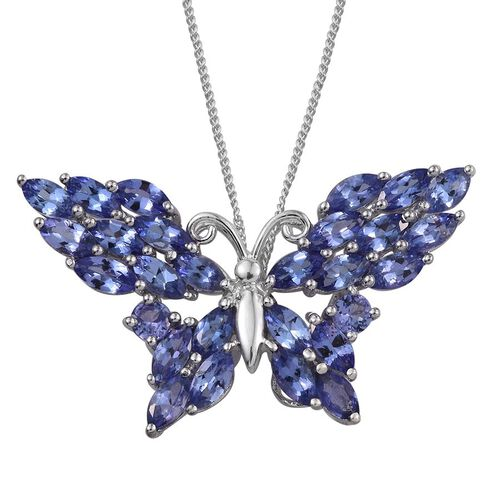 Tanzanite (Mrq) Butterfly Pendant With Chain in Platinum Overlay Sterling Silver 4.250 Ct.