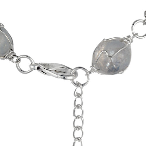 AAA White Austrian Crystal and Multi Gem Stone Necklace (Size 18 with Extender) in Silver Tone