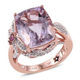 GP Rose De France Amethyst (Cush 9.69 Ct), Rhodolite Garnet, Natural Cambodian Zircon and Kanchanaburi Blue Sapphire Ring in Rose Gold Overlay Sterling Silver 10.750 Ct.