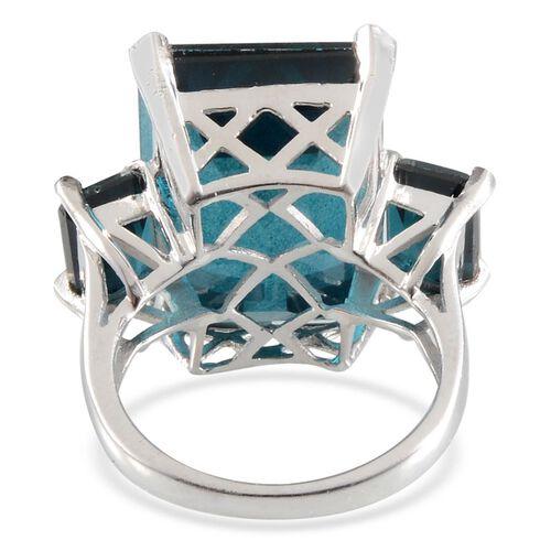 Indicolite Quartz (Oct 18.50 Ct) 3 Stone Ring in Platinum Overlay Sterling Silver 21.000 Ct.