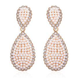 AAA White Austrian Crystal Drop Earrings (with French Clip) in Yellow Gold Tone