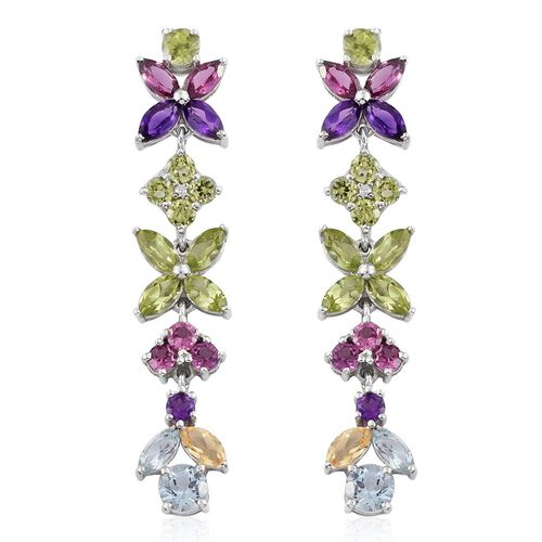Sky Blue Topaz (Rnd), Rhodolite Garnet, Hebei Peridot, Sky Blue Topaz, Amethyst, White Topaz and Multi GemStone Dangling Earrings (with Push Back) in Platinum Overlay Sterling Silver 8.860 Ct.