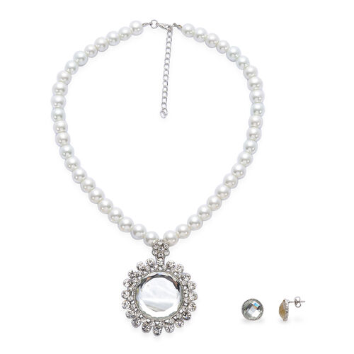Simulated White Diamond, White Glass Pearl and White Austrian Crystal Necklace (Size 17 with Extender) and Stud Earrings (With Push Back) in Silver Tone