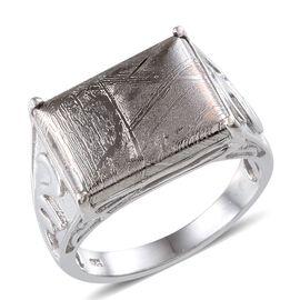 Meteorite (Bgt) Ring in Platinum Overlay Sterling Silver 16.500 Ct.