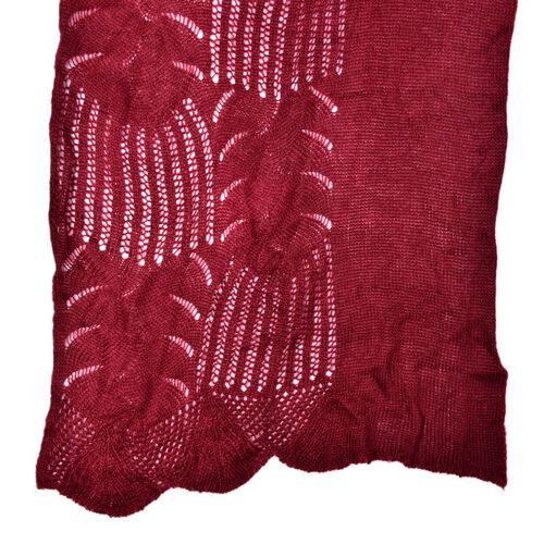 Lace Design Red Colour Knitted Scarf (Size 180x60 Cm)