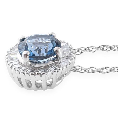 ILIANA 18K W Gold AAA Santa Maria Aquamarine (Rnd), Diamond (SI/G-H) Pendant with Chain 1.000 Ct.