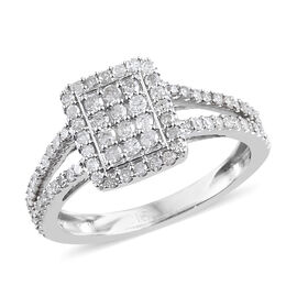 Limited Edition- 9K White Gold Diamond (I2-I3/G-H) (Rnd) Ring 0.500 Ct.