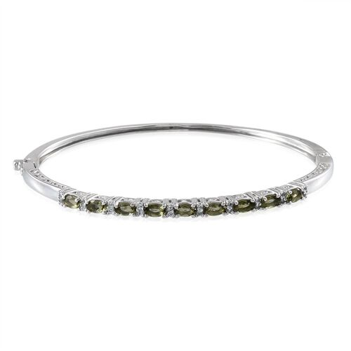 Bohemian Moldavite (Ovl), White Topaz Bangle (Size 7.5) in Platinum Overlay Sterling Silver 2.000 Ct.