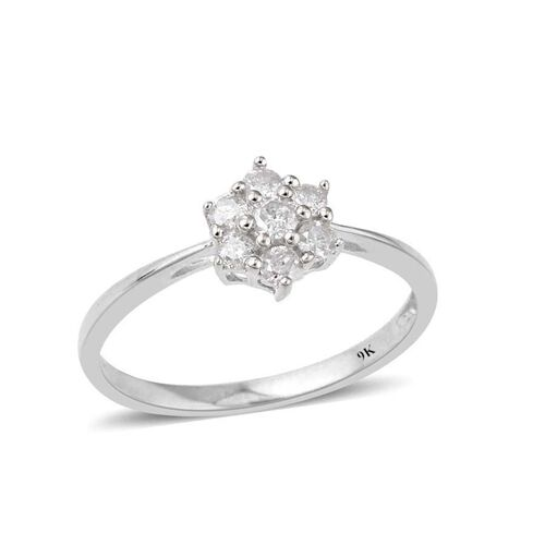 9K White Gold SGL Certified Diamond (Rnd) (I3/G-H) 7 Stone Floral Ring 0.330 Ct.