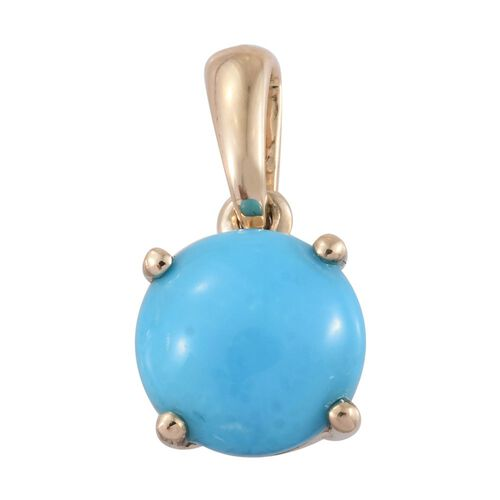 9K Y Gold AA Arizona Sleeping Beauty Turquoise (Rnd) Solitaire Pendant 1.500 Ct.