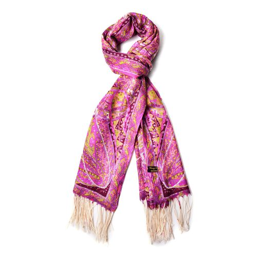 100% Wool Pink, Yellow and Multi Colour Paisley Pattern Scarf with Tassels (Size 184X68 Cm)