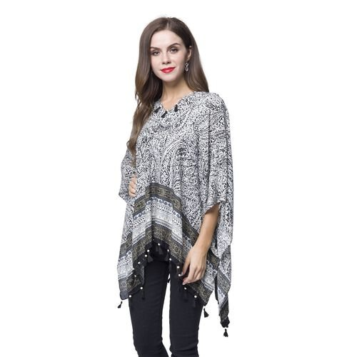 Black, White and Multi Colour Bandana Pattern Poncho with Wooden Beads Adorned Tassels (Size 130X95 Cm)