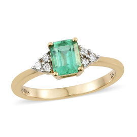 ILIANA 1 Carat AAA Boyaca Colombian Emerald and Diamond Ring in 18K Gold 1.00 Ct.
