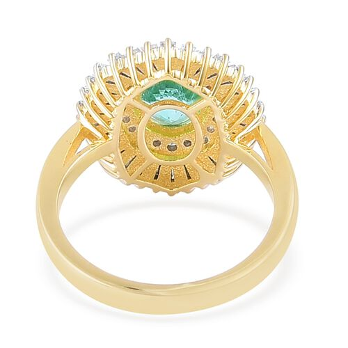 ILIANA 18K Yellow Gold AAAA Boyaca Colombian Emerald (Ovl 1.50 Ct), Diamond (SI/G-H) Ring 2.330 Ct