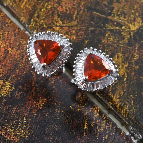 RHAPSODY 950 Platinum AAAA Jalisco Fire Opal (Trl) Diamond (VS/E-F) Halo Stud Earrings (with Screw Back) 1.500 Ct.