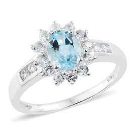 Sky Blue Topaz (Ovl 1.50 Ct), Natural Cambodian Zircon Ring in Sterling Silver 2.500 Ct.