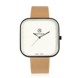 STRADA Japanese Movement White Dial Water Resistant Watch in Black Tone with Champagne Colour Strap