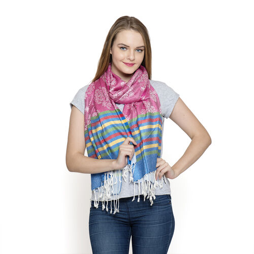 New for Season - Pink, Rainbow and Multi Colour Scarf with Fringes at the Bottom (Size 180x70 Cm)