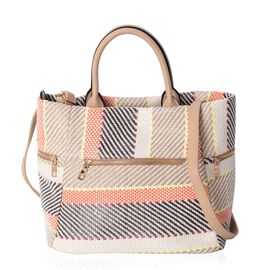 Black, Off White and Multi Colour Abstract Stripe Pattern Tote Bag with External Zipper Pockets and Removable Shoulder Strap (Size 40x31x25.5x19 Cm)
