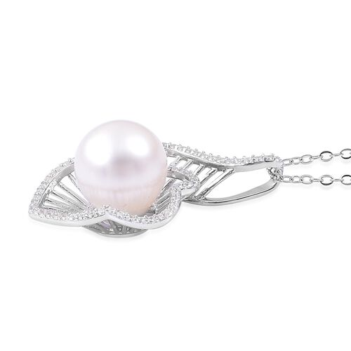 Very Rare Size South Sea White Pearl (Rnd 10-10.5 mm), Natural White Cambodian Zircon Pendant With Chain in Rhodium Plated Sterling Silver
