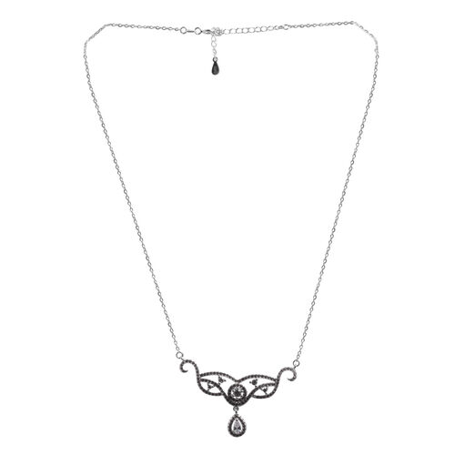 ELANZA AAA Simulated Diamond (Pear) Necklace (Size 16) in Rhodium Plated Sterling Silver