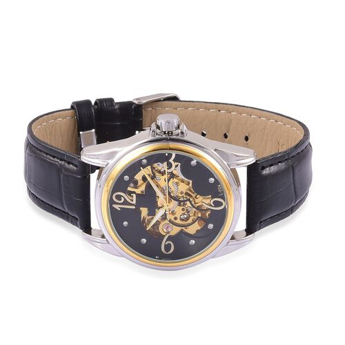 GENOA Automatic Skeleton Gold Tone Watch with White and Pink Austrian Crystal