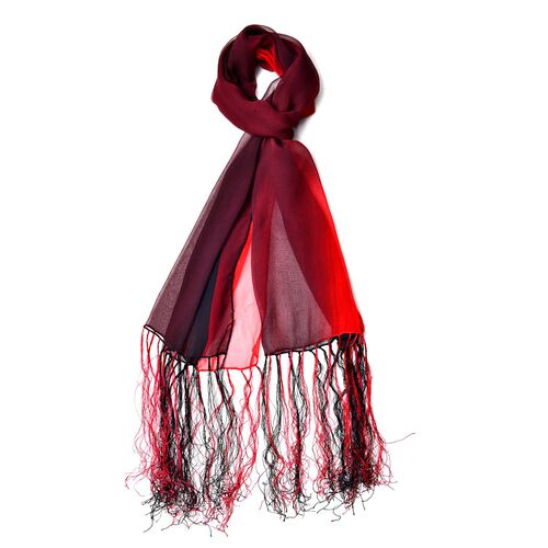 100% Mulberry Silk Red and Black Colour Scarf with Long Tassels (Size 160X50 Cm)