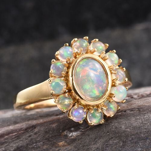 AA Ethiopian Welo Opal (Ovl 0.75 Ct) Ring in 14K Gold Overlay Sterling Silver 1.500 Ct.