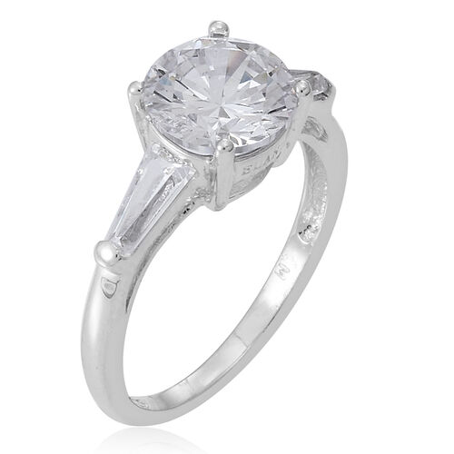 AAA Simulated Diamond (Rnd) Ring in Rhodium Plated Sterling Silver