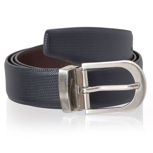 Genuine Leather Black and Brown Colour Mens Belt with Silver Tone Buckle (Size 38-40 inch)